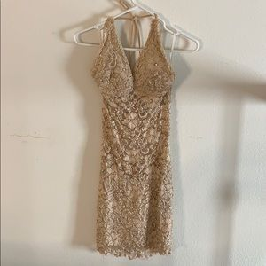Holt Miami Lola lace halter dress - M